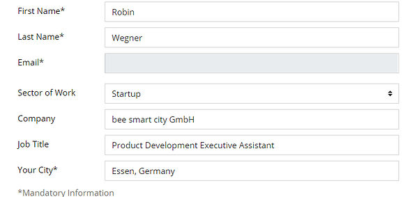 Edit View of the Profile Page with General Information Fields: First Name, Last Name, Email, Sector of Work, Company, Job Title and Your City Screenshot