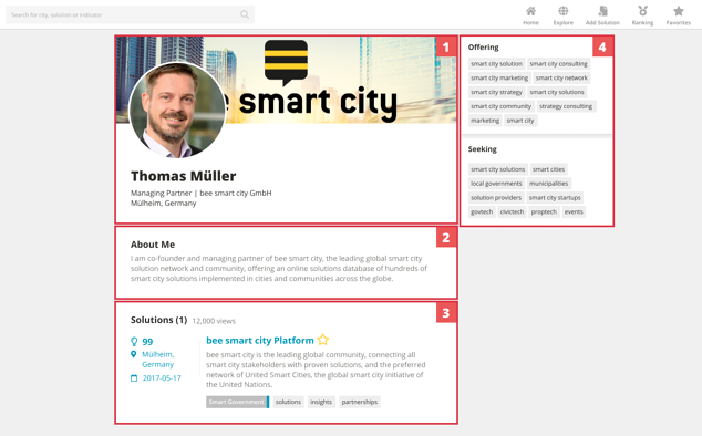 Profile Page of Thomas Müller Co Founder of bee smart city for demonstration of the elements described before
