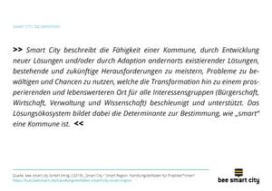 Smart City Definition nach der bee smart city GmbH (2017)