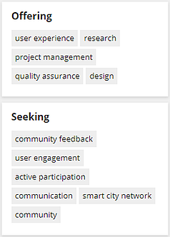 Offering and Seeking Tags Cards on Profile Page with Example Tags for Demonstration