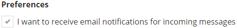 Preferences Card with Option to turn on or off email notifications