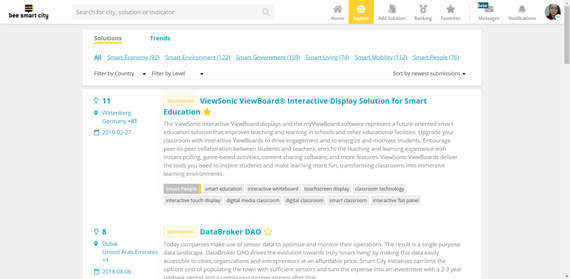 screenshot explore solutions on bee smart city