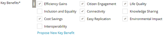Key Benefits Selection Field with 6 Key Benefits selected Screenshot